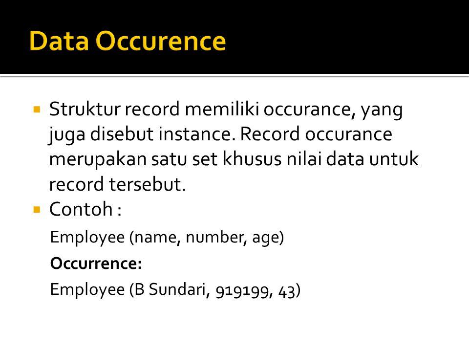 Struktur record memiliki occurance, yang juga disebut instance. Record occurance merupakan satu set khusus nilai data untuk record tersebut.  Conto