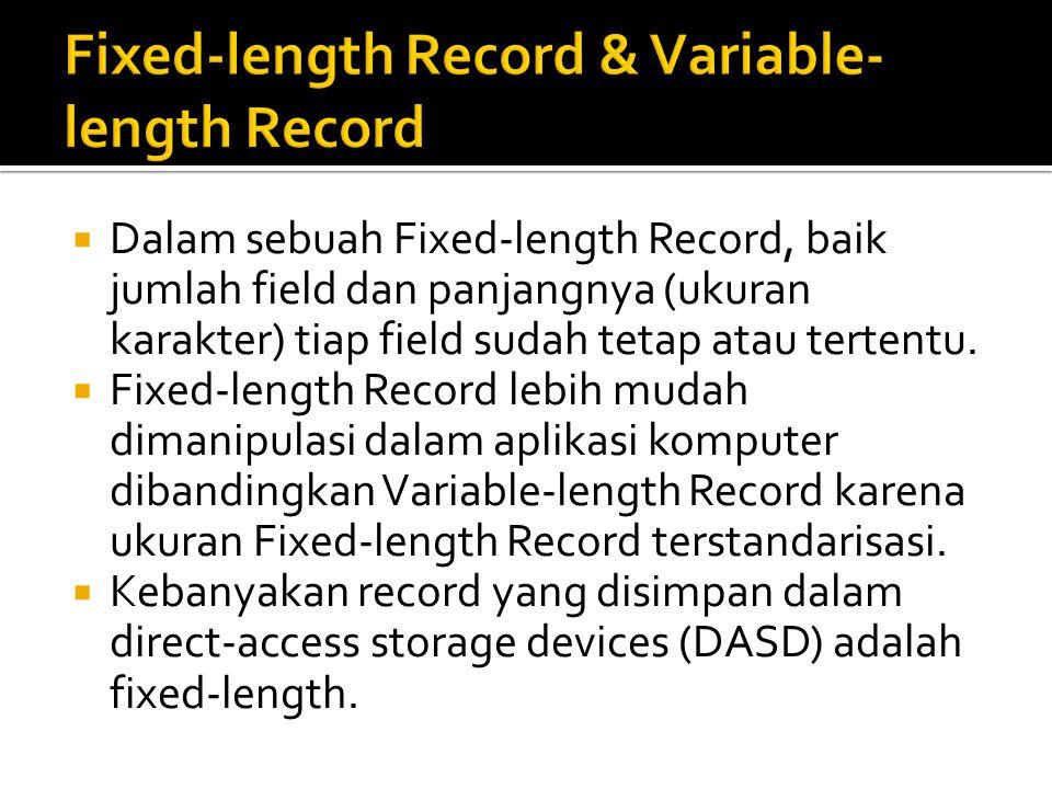  Dalam sebuah Fixed-length Record, baik jumlah field dan panjangnya (ukuran karakter) tiap field sudah tetap atau tertentu.  Fixed-length Record leb