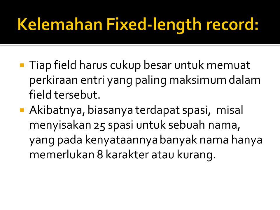  Tiap field harus cukup besar untuk memuat perkiraan entri yang paling maksimum dalam field tersebut.  Akibatnya, biasanya terdapat spasi, misal men