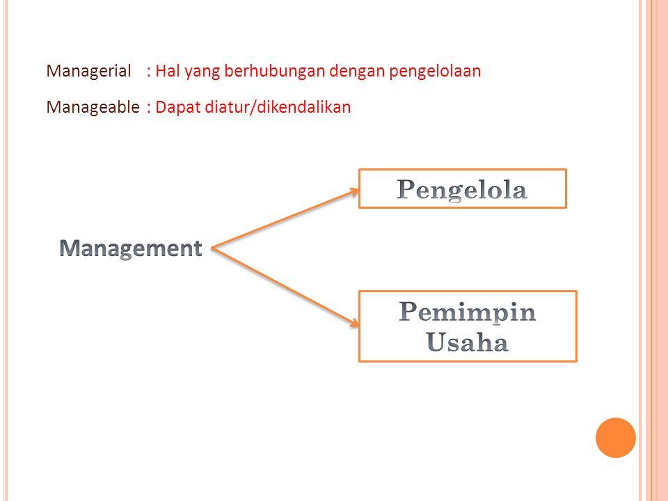 Managerial: Hal yang berhubungan dengan pengelolaan Manageable: Dapat diatur/dikendalikan