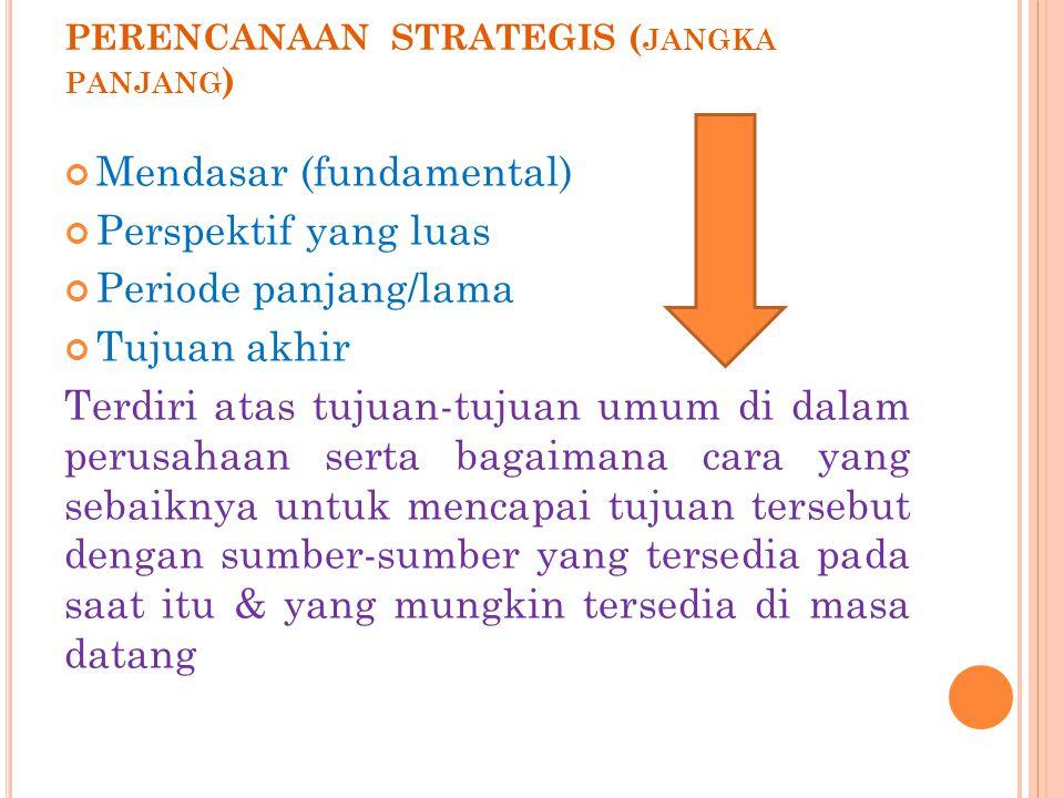 PERENCANAAN STRATEGIS ( JANGKA PANJANG ) Mendasar (fundamental) Perspektif yang luas Periode panjang/lama Tujuan akhir Terdiri atas tujuan-tujuan umum