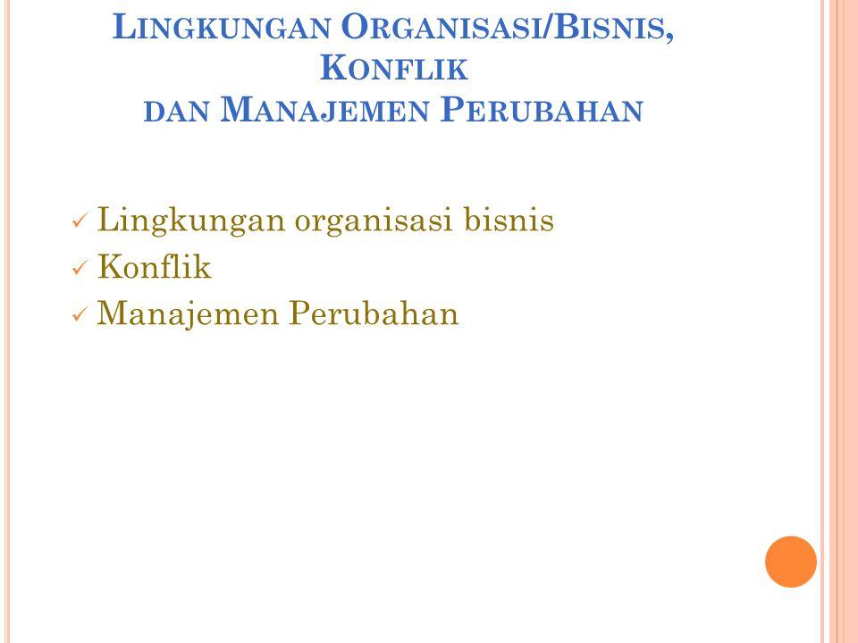 L INGKUNGAN O RGANISASI /B ISNIS, K ONFLIK DAN M ANAJEMEN P ERUBAHAN  Lingkungan organisasi bisnis  Konflik  Manajemen Perubahan