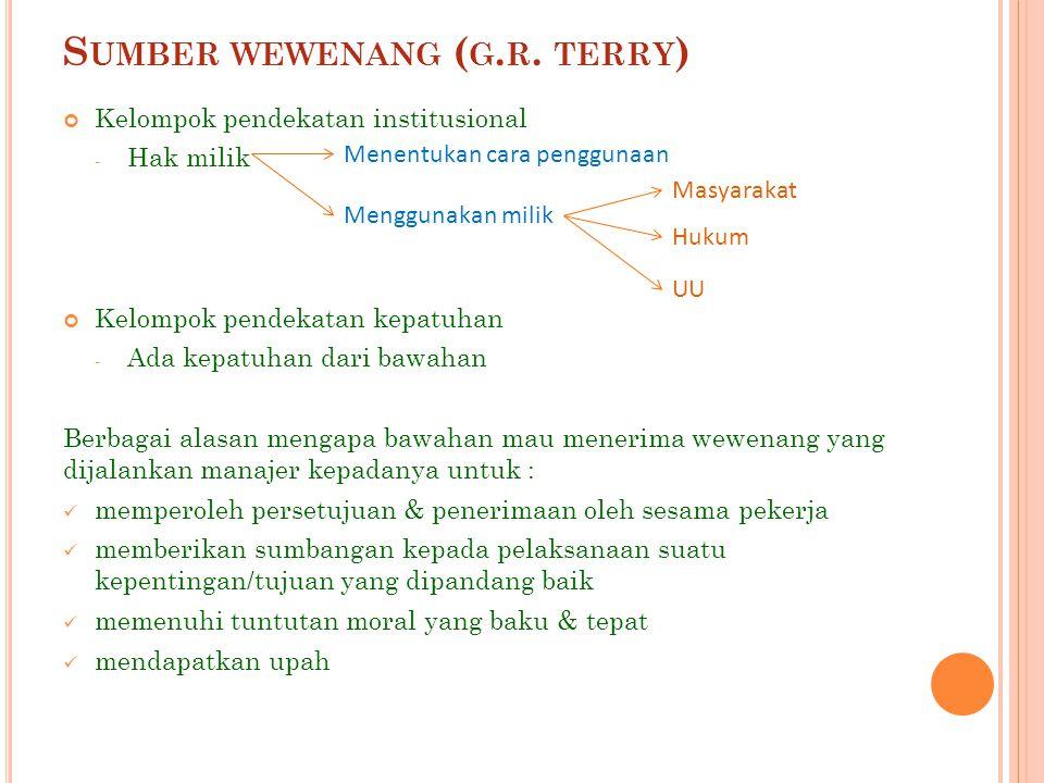 S UMBER WEWENANG ( G. R. TERRY ) Kelompok pendekatan institusional - Hak milik Kelompok pendekatan kepatuhan - Ada kepatuhan dari bawahan Berbagai ala