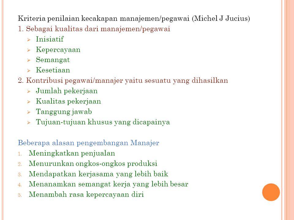 Kriteria penilaian kecakapan manajemen/pegawai (Michel J Jucius) 1. Sebagai kualitas dari manajemen/pegawai  Inisiatif  Kepercayaan  Semangat  Kes