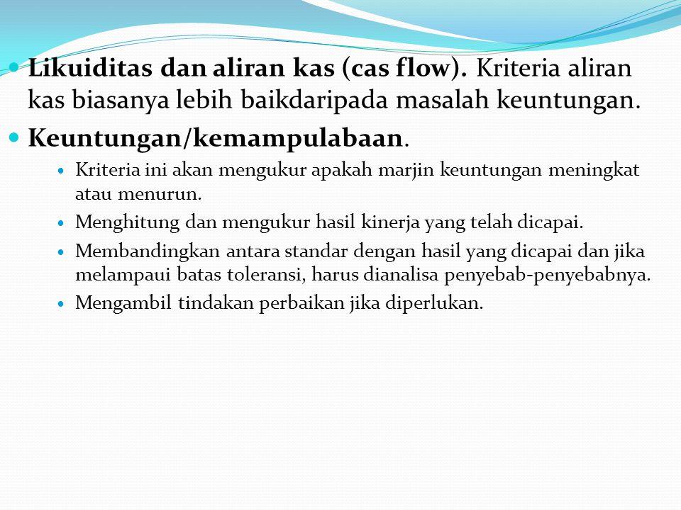  Likuiditas dan aliran kas (cas flow).