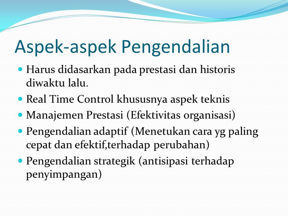 Aspek-aspek Pengendalian  Harus didasarkan pada prestasi dan historis diwaktu lalu.  Real Time Control khususnya aspek teknis  Manajemen Prestasi (
