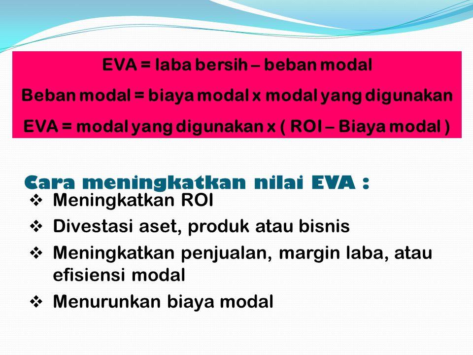 Cara meningkatkan nilai EVA : MMeningkatkan ROI DDivestasi aset, produk atau bisnis MMeningkatkan penjualan, margin laba, atau efisiensi modal MMenurunkan biaya modal EVA = laba bersih – beban modal Beban modal = biaya modal x modal yang digunakan EVA = modal yang digunakan x ( ROI – Biaya modal )