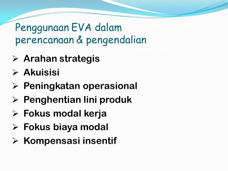 Penggunaan EVA dalam perencanaan & pengendalian  Arahan strategis  Akuisisi  Peningkatan operasional  Penghentian lini produk  Fokus modal kerja  Fokus biaya modal  Kompensasi insentif