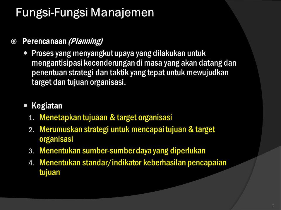 Fungsi-Fungsi Manajemen  Perencanaan (Planning)  Proses yang menyangkut upaya yang dilakukan untuk mengantisipasi kecenderungan di masa yang akan da