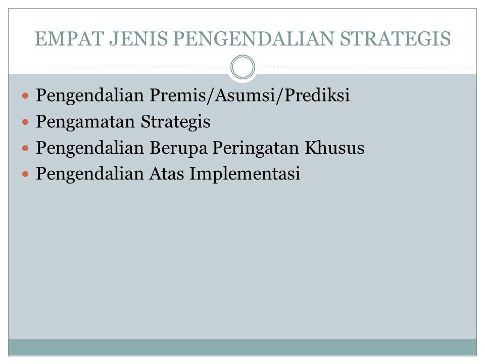 EMPAT JENIS PENGENDALIAN STRATEGIS  Pengendalian Premis/Asumsi/Prediksi  Pengamatan Strategis  Pengendalian Berupa Peringatan Khusus  Pengendalian