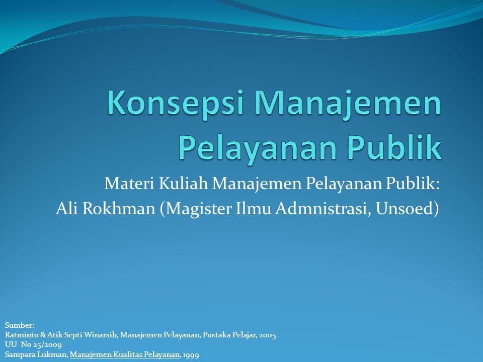 Materi Kuliah Manajemen Pelayanan Publik: Ali Rokhman (Magister Ilmu Admnistrasi, Unsoed) Sumber: Ratminto & Atik Septi Winarsih, Manajemen Pelayanan,