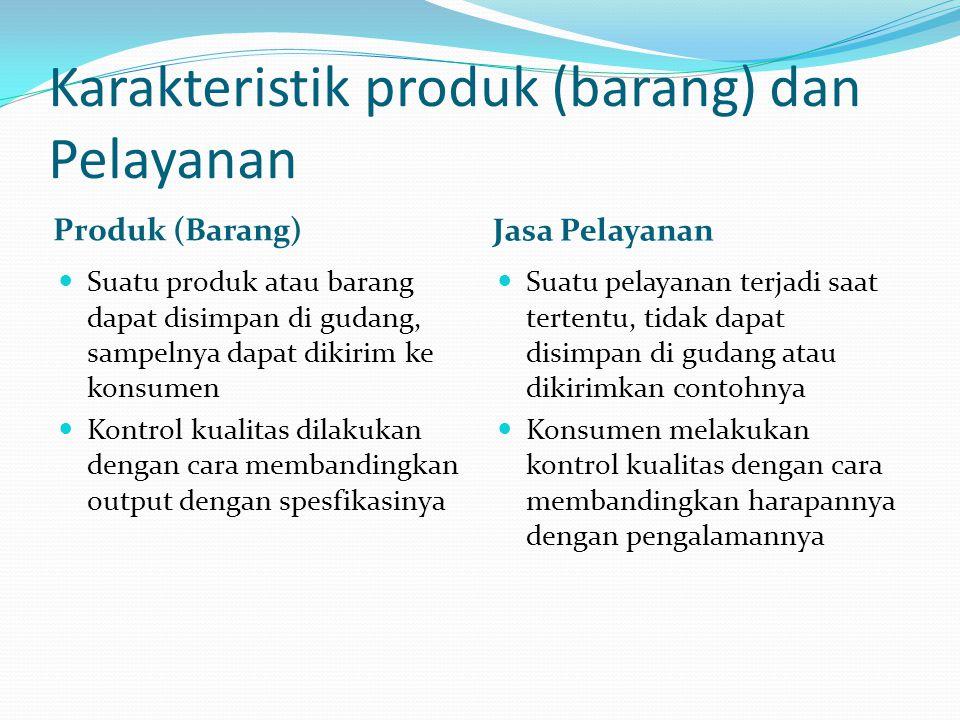 Karakteristik produk (barang) dan Pelayanan Produk (Barang) Jasa Pelayanan  Suatu produk atau barang dapat disimpan di gudang, sampelnya dapat dikirim ke konsumen  Kontrol kualitas dilakukan dengan cara membandingkan output dengan spesfikasinya  Suatu pelayanan terjadi saat tertentu, tidak dapat disimpan di gudang atau dikirimkan contohnya  Konsumen melakukan kontrol kualitas dengan cara membandingkan harapannya dengan pengalamannya