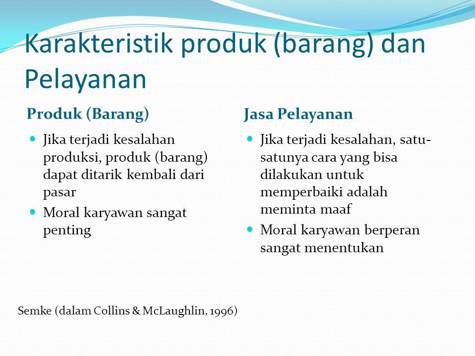 Karakteristik produk (barang) dan Pelayanan Produk (Barang) Jasa Pelayanan  Jika terjadi kesalahan produksi, produk (barang) dapat ditarik kembali dari pasar  Moral karyawan sangat penting  Jika terjadi kesalahan, satu- satunya cara yang bisa dilakukan untuk memperbaiki adalah meminta maaf  Moral karyawan berperan sangat menentukan Semke (dalam Collins & McLaughlin, 1996)