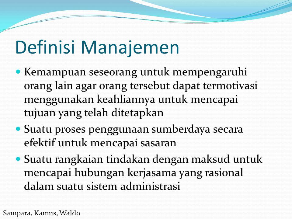 Definisi Manajemen  Kemampuan seseorang untuk mempengaruhi orang lain agar orang tersebut dapat termotivasi menggunakan keahliannya untuk mencapai tu
