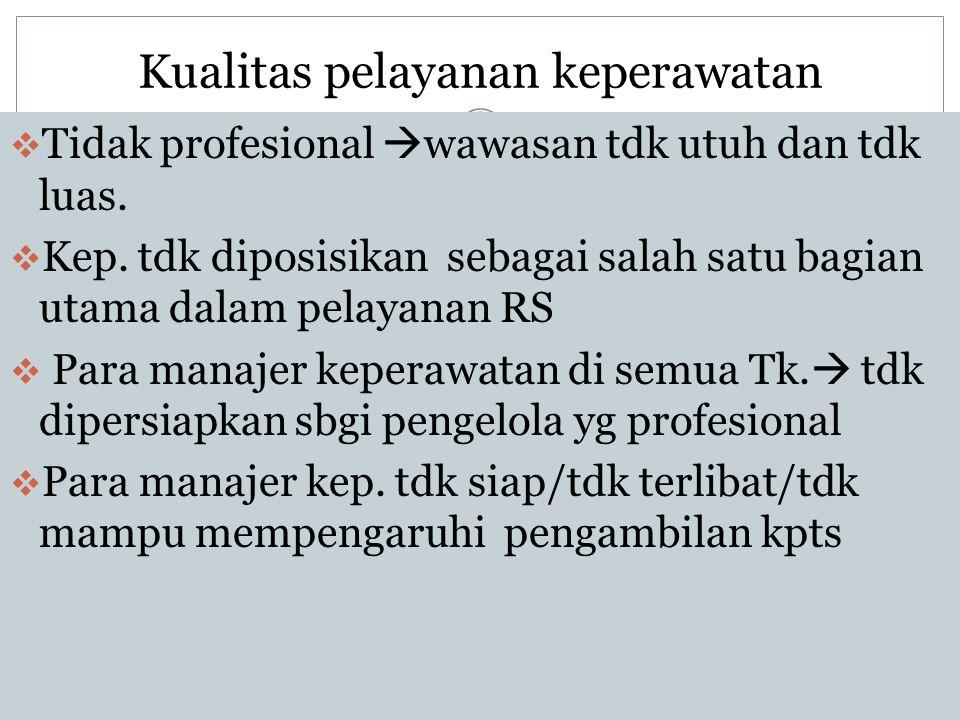 Kualitas pelayanan keperawatan  Tidak profesional  wawasan tdk utuh dan tdk luas.  Kep. tdk diposisikan sebagai salah satu bagian utama dalam pelay