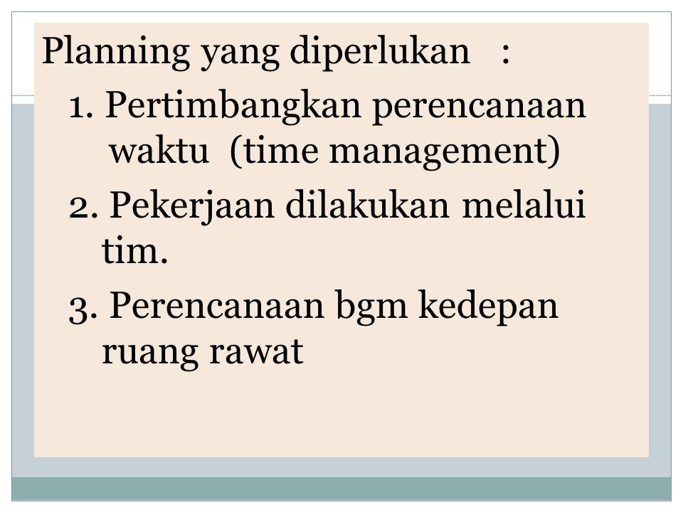 Planning yang diperlukan : 1. Pertimbangkan perencanaan waktu (time management) 2. Pekerjaan dilakukan melalui tim. 3. Perencanaan bgm kedepan ruang r