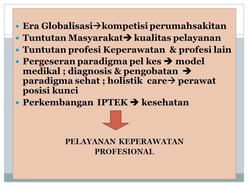  Era Globalisasi  kompetisi perumahsakitan  Tuntutan Masyarakat  kualitas pelayanan  Tuntutan profesi Keperawatan & profesi lain  Pergeseran par