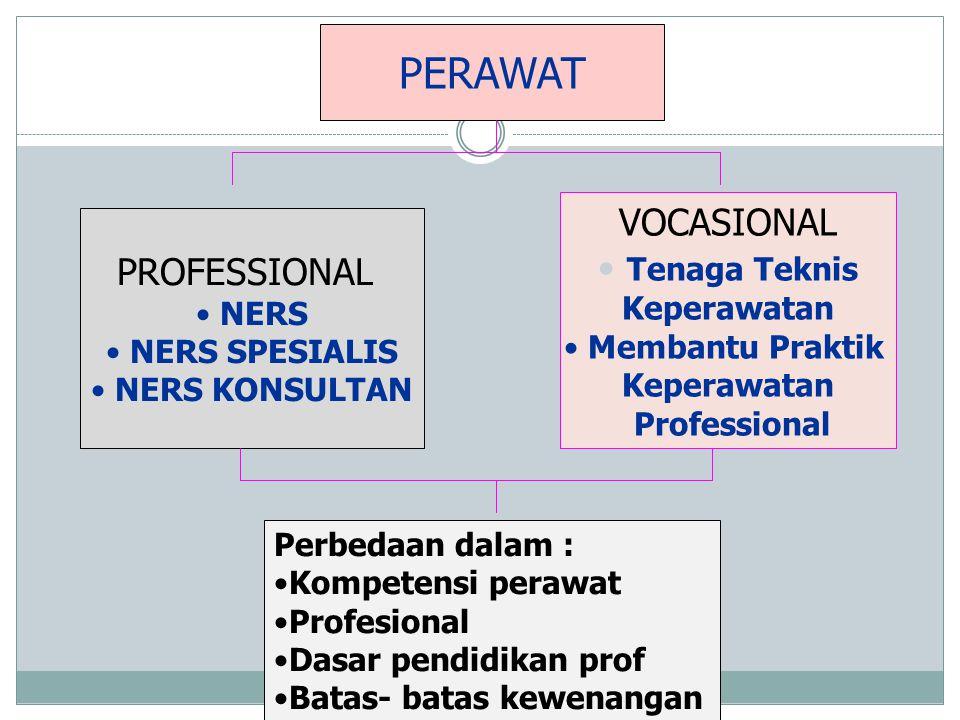 PERAWAT PROFESSIONAL • NERS • NERS SPESIALIS • NERS KONSULTAN VOCASIONAL • Tenaga Teknis Keperawatan • Membantu Praktik Keperawatan Professional Perbe