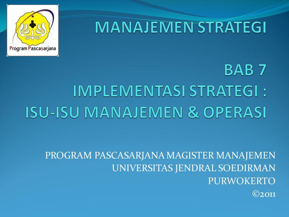 PROGRAM PASCASARJANA MAGISTER MANAJEMEN UNIVERSITAS JENDRAL SOEDIRMAN PURWOKERTO ©2011