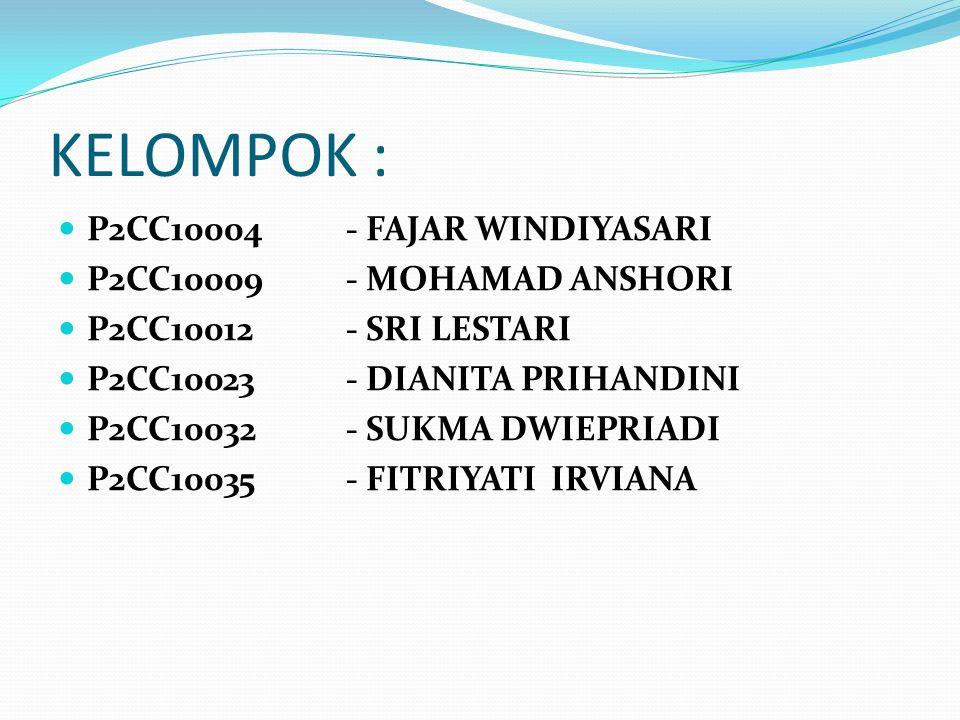 KELOMPOK :  P2CC10004 - FAJAR WINDIYASARI  P2CC10009- MOHAMAD ANSHORI  P2CC10012 - SRI LESTARI  P2CC10023 - DIANITA PRIHANDINI  P2CC10032- SUKMA