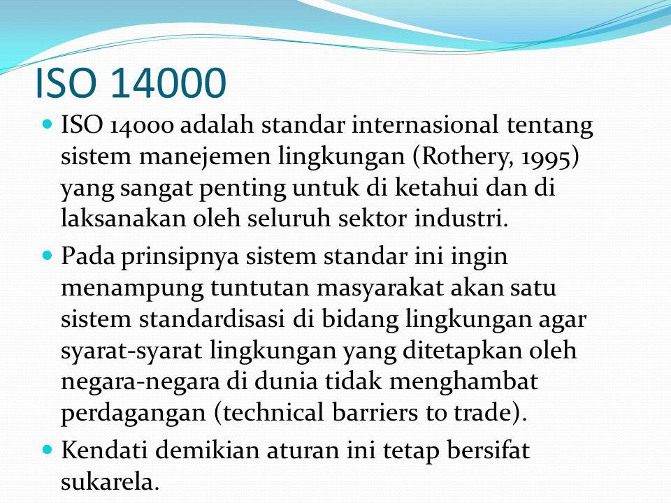ISO 14000  ISO 14000 adalah standar internasional tentang sistem manejemen lingkungan (Rothery, 1995) yang sangat penting untuk di ketahui dan di lak