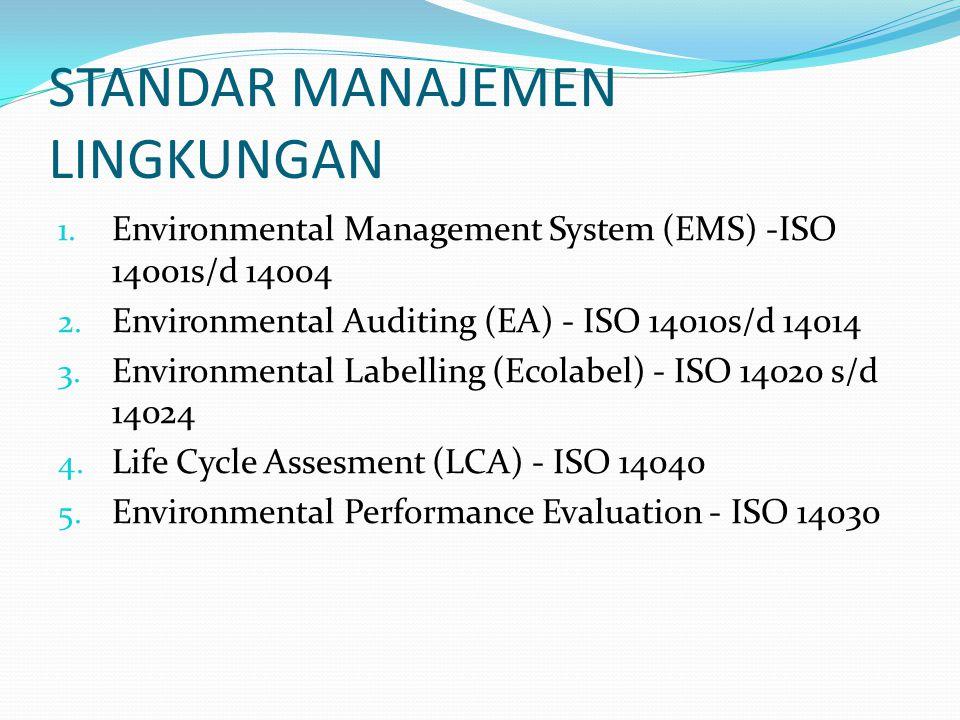 STANDAR MANAJEMEN LINGKUNGAN 1. Environmental Management System (EMS) -ISO 14001s/d 14004 2. Environmental Auditing (EA) - ISO 14010s/d 14014 3. Envir