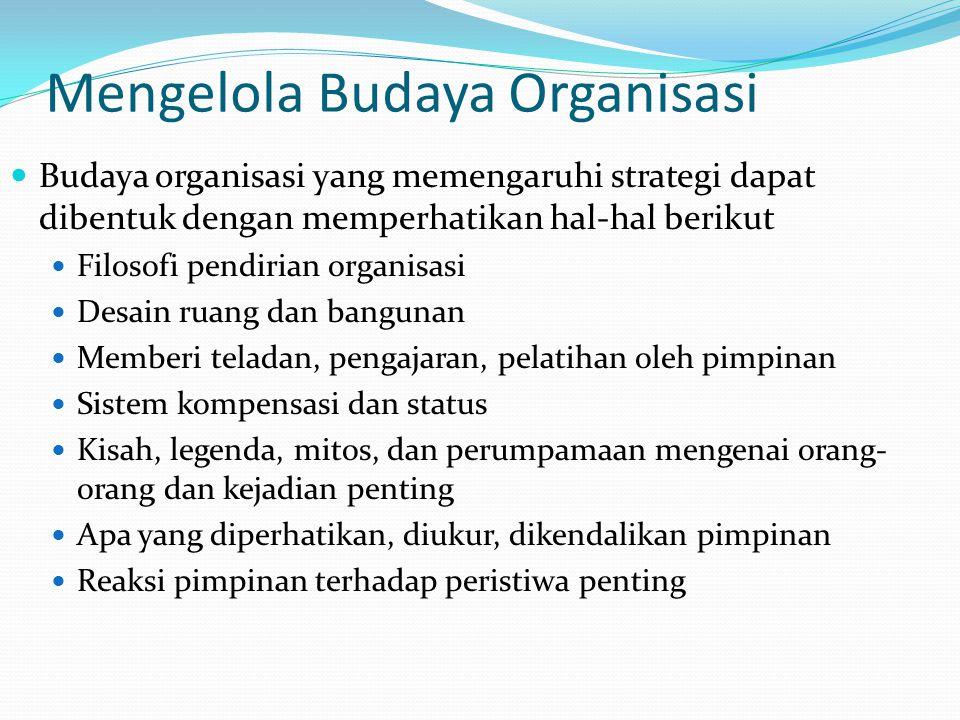 Mengelola Budaya Organisasi  Budaya organisasi yang memengaruhi strategi dapat dibentuk dengan memperhatikan hal-hal berikut  Filosofi pendirian org