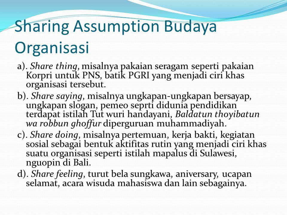 Sharing Assumption Budaya Organisasi a). Share thing, misalnya pakaian seragam seperti pakaian Korpri untuk PNS, batik PGRI yang menjadi ciri khas org