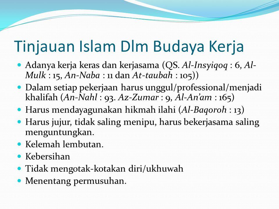 Tinjauan Islam Dlm Budaya Kerja  Adanya kerja keras dan kerjasama (QS. Al-Insyiqoq : 6, Al- Mulk : 15, An-Naba : 11 dan At-taubah : 105))  Dalam set