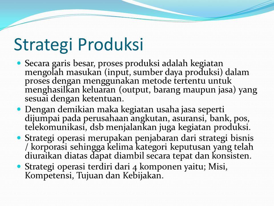 Strategi Produksi  Secara garis besar, proses produksi adalah kegiatan mengolah masukan (input, sumber daya produksi) dalam proses dengan menggunakan