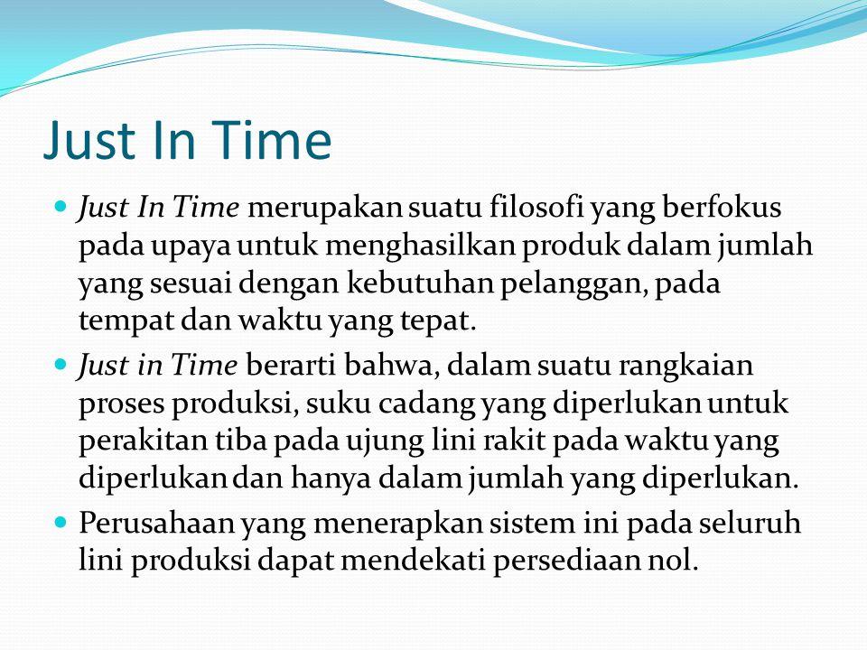 Just In Time  Just In Time merupakan suatu filosofi yang berfokus pada upaya untuk menghasilkan produk dalam jumlah yang sesuai dengan kebutuhan pela