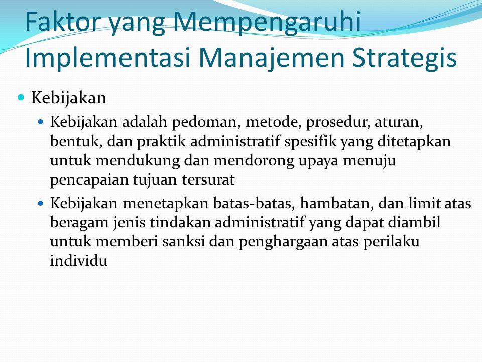 Faktor yang Mempengaruhi Implementasi Manajemen Strategis  Kebijakan  Kebijakan adalah pedoman, metode, prosedur, aturan, bentuk, dan praktik admini