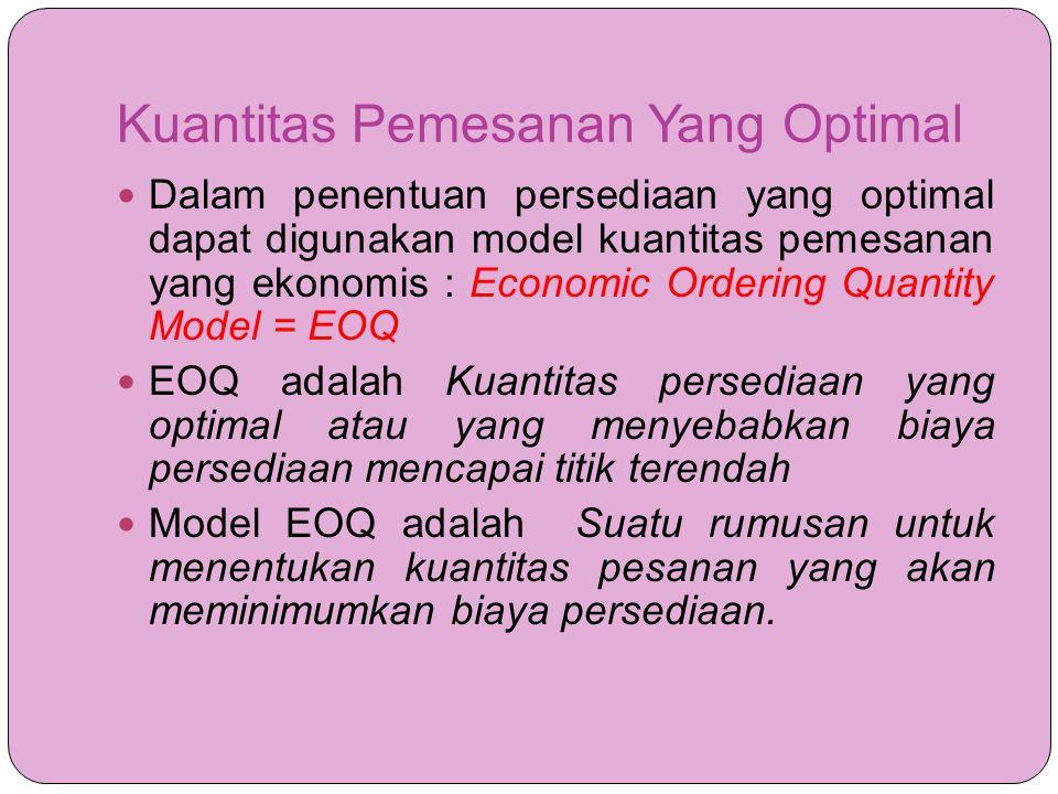 Kuantitas Pemesanan Yang Optimal  Dalam penentuan persediaan yang optimal dapat digunakan model kuantitas pemesanan yang ekonomis : Economic Ordering