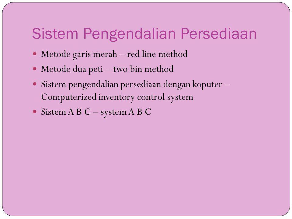 Sistem Pengendalian Persediaan  Metode garis merah – red line method  Metode dua peti – two bin method  Sistem pengendalian persediaan dengan koput