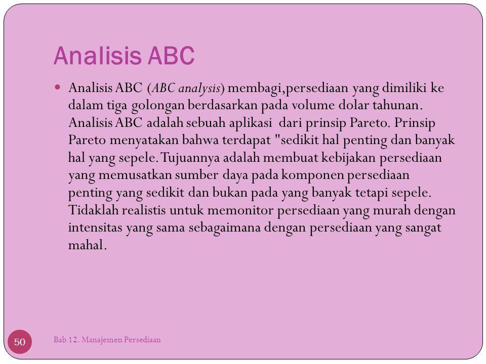 Analisis ABC Bab 12. Manajemen Persediaan 50  Analisis ABC (ABC analysis) membagi,persediaan yang dimiliki ke dalam tiga golongan berdasarkan pada vo