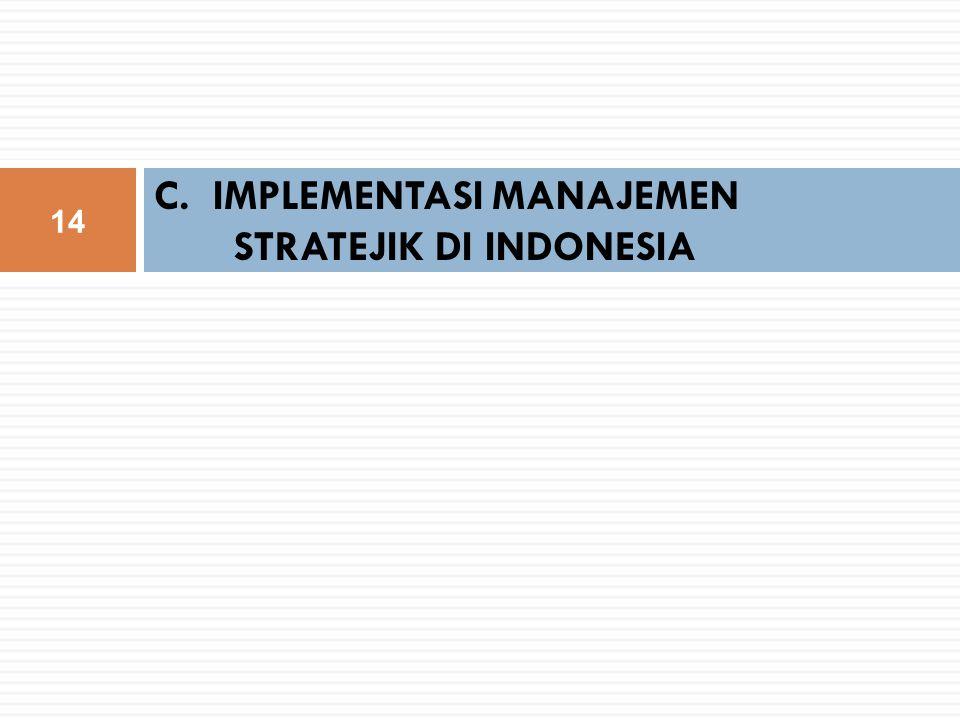 C. IMPLEMENTASI MANAJEMEN STRATEJIK DI INDONESIA 14