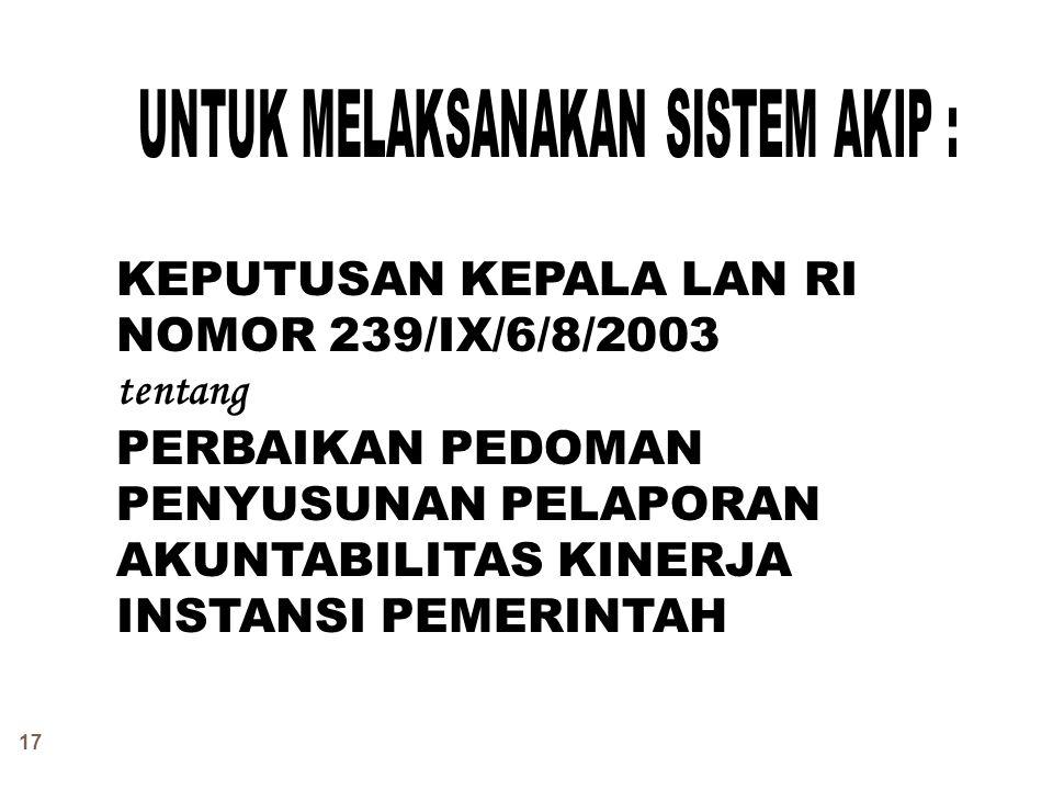 17 KEPUTUSAN KEPALA LAN RI NOMOR 239/IX/6/8/2003 tentang PERBAIKAN PEDOMAN PENYUSUNAN PELAPORAN AKUNTABILITAS KINERJA INSTANSI PEMERINTAH