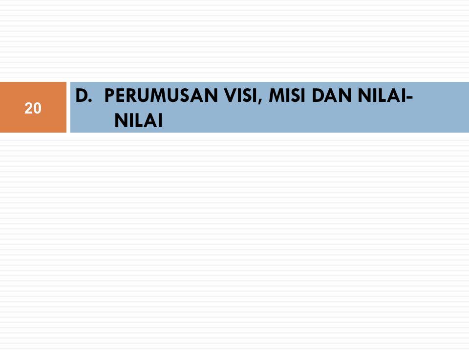 D. PERUMUSAN VISI, MISI DAN NILAI- NILAI 20