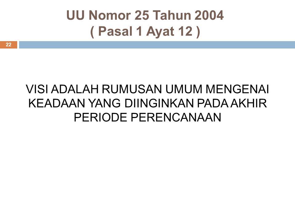 UU Nomor 25 Tahun 2004 ( Pasal 1 Ayat 12 ) 22 VISI ADALAH RUMUSAN UMUM MENGENAI KEADAAN YANG DIINGINKAN PADA AKHIR PERIODE PERENCANAAN
