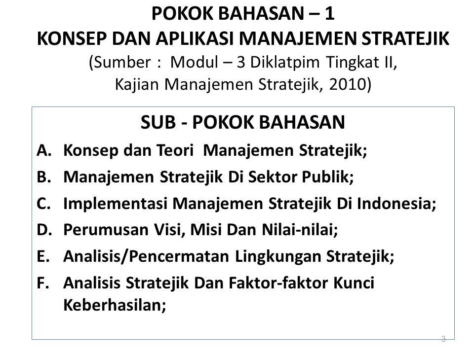 POKOK BAHASAN – 1 KONSEP DAN APLIKASI MANAJEMEN STRATEJIK (Sumber : Modul – 3 Diklatpim Tingkat II, Kajian Manajemen Stratejik, 2010) SUB - POKOK BAHA