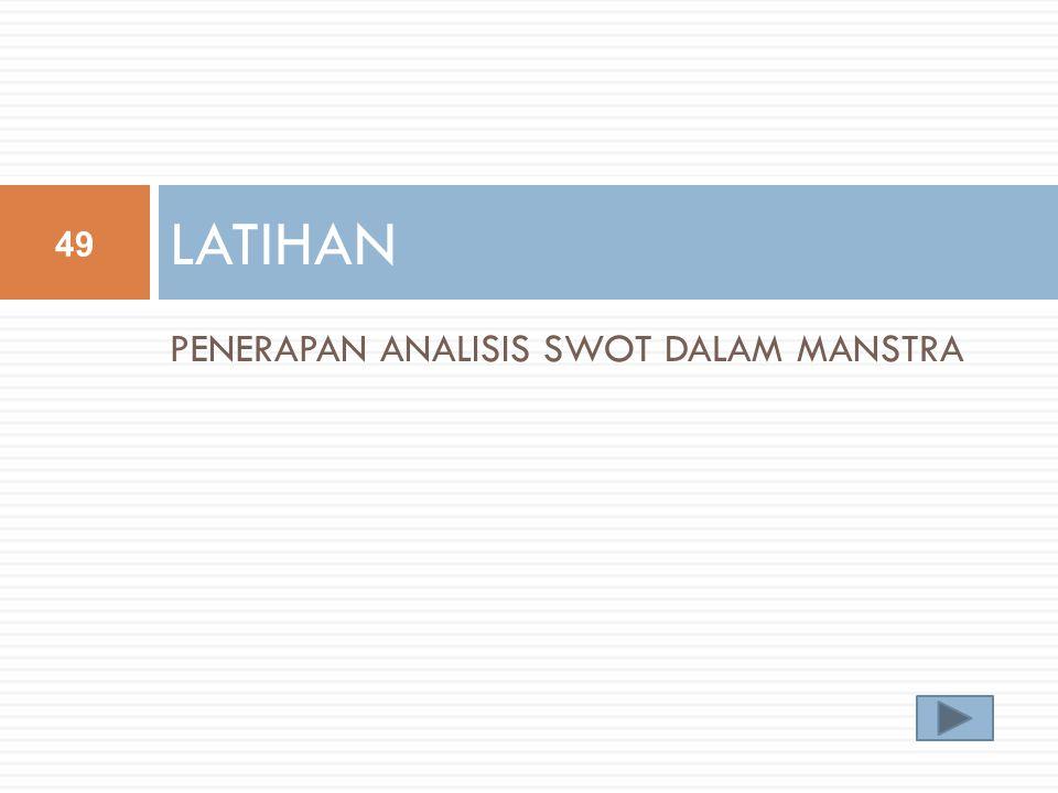 PENERAPAN ANALISIS SWOT DALAM MANSTRA LATIHAN 49
