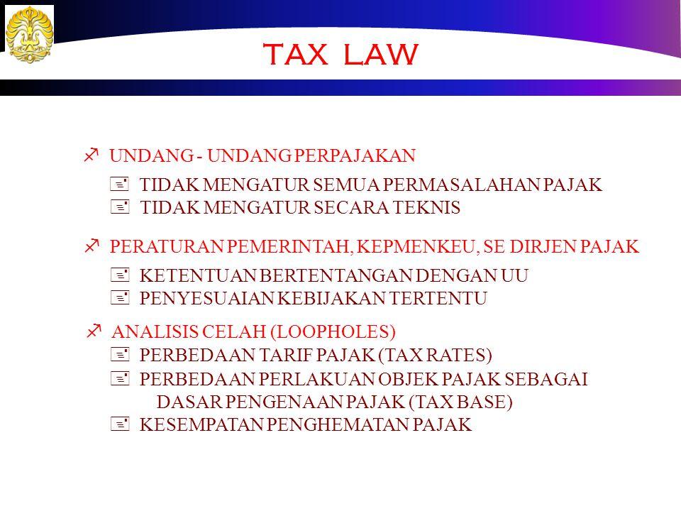 TAX POLICY ¶ PAJAK YANG DIPUNGUT + PAJAK PENGHASILAN BADAN DAN PERORANGAN + PAJAK CAPITAL GAINS + WITHOLDING TAX (GAJI, DIVIDEN, SEWA, BUNGA, dst) + P