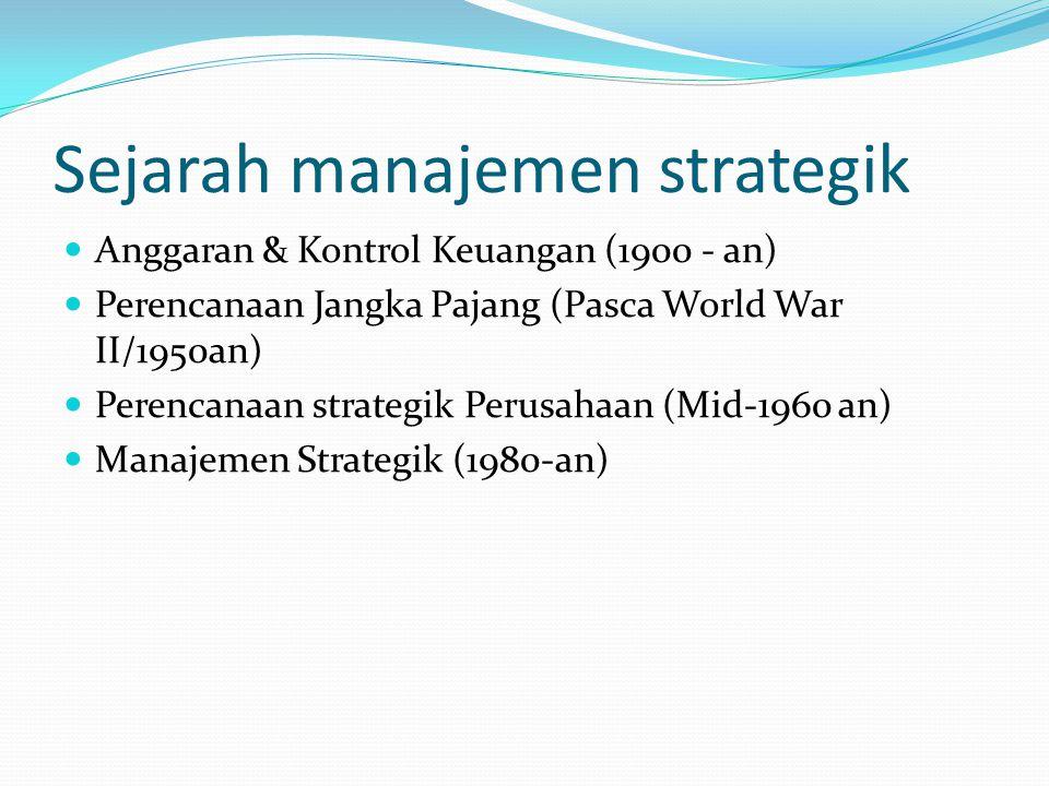 Sejarah manajemen strategik  Anggaran & Kontrol Keuangan (1900 - an)  Perencanaan Jangka Pajang (Pasca World War II/1950an)  Perencanaan strategik