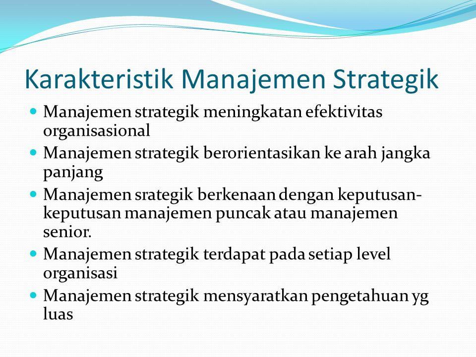 Karakteristik Manajemen Strategik  Manajemen strategik meningkatan efektivitas organisasional  Manajemen strategik berorientasikan ke arah jangka pa