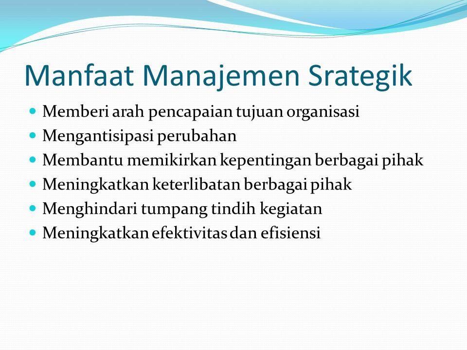 Manfaat Manajemen Srategik  Memberi arah pencapaian tujuan organisasi  Mengantisipasi perubahan  Membantu memikirkan kepentingan berbagai pihak  M