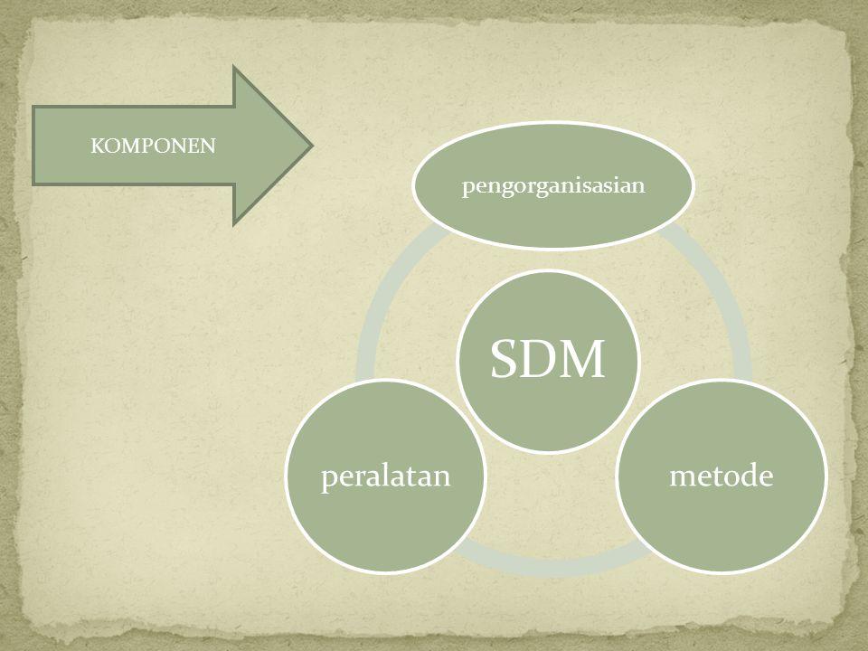 SDM pengorganisasian metodeperalatan KOMPONEN