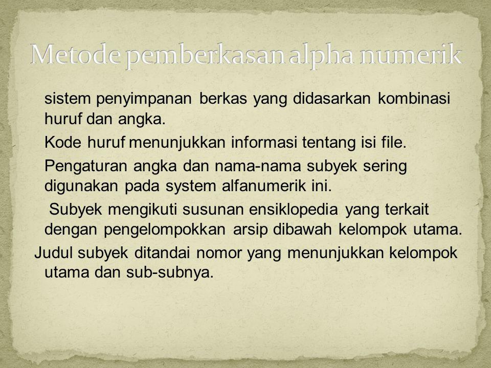 sistem penyimpanan berkas yang didasarkan kombinasi huruf dan angka. Kode huruf menunjukkan informasi tentang isi file. Pengaturan angka dan nama-nama