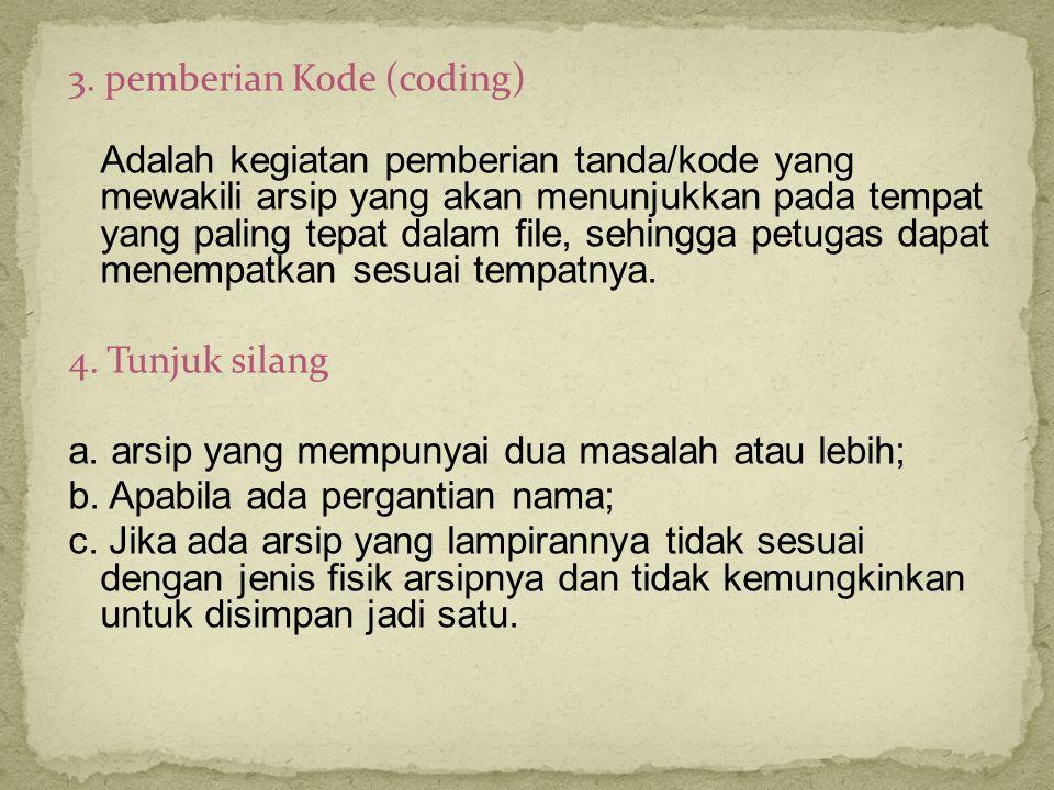 3. pemberian Kode (coding) Adalah kegiatan pemberian tanda/kode yang mewakili arsip yang akan menunjukkan pada tempat yang paling tepat dalam file, se