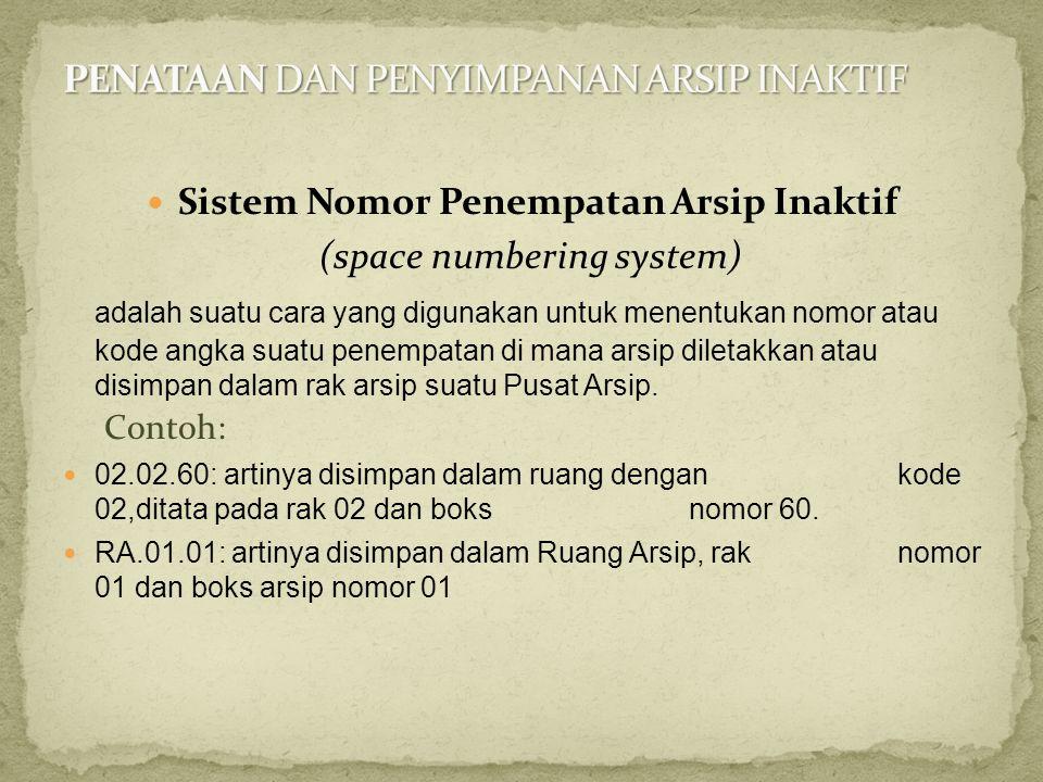  Sistem Nomor Penempatan Arsip Inaktif (space numbering system) adalah suatu cara yang digunakan untuk menentukan nomor atau kode angka suatu penempa