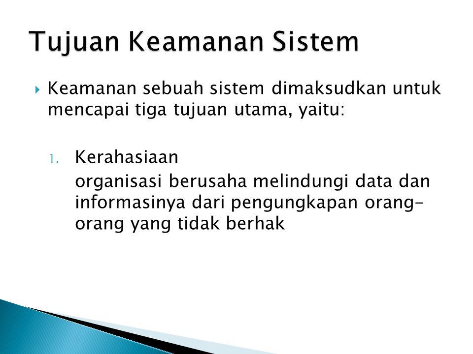  Keamanan sebuah sistem dimaksudkan untuk mencapai tiga tujuan utama, yaitu: 1. Kerahasiaan organisasi berusaha melindungi data dan informasinya dari